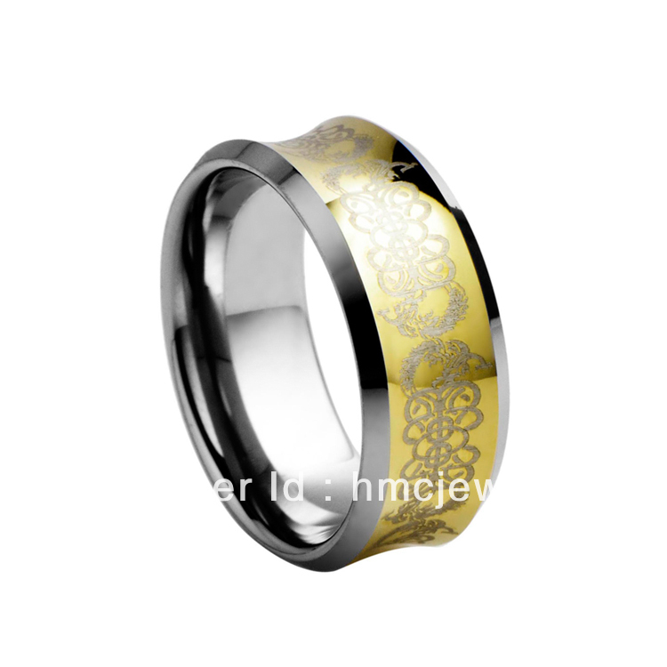 Engraved Gold Plated Concave Tungsten Ring