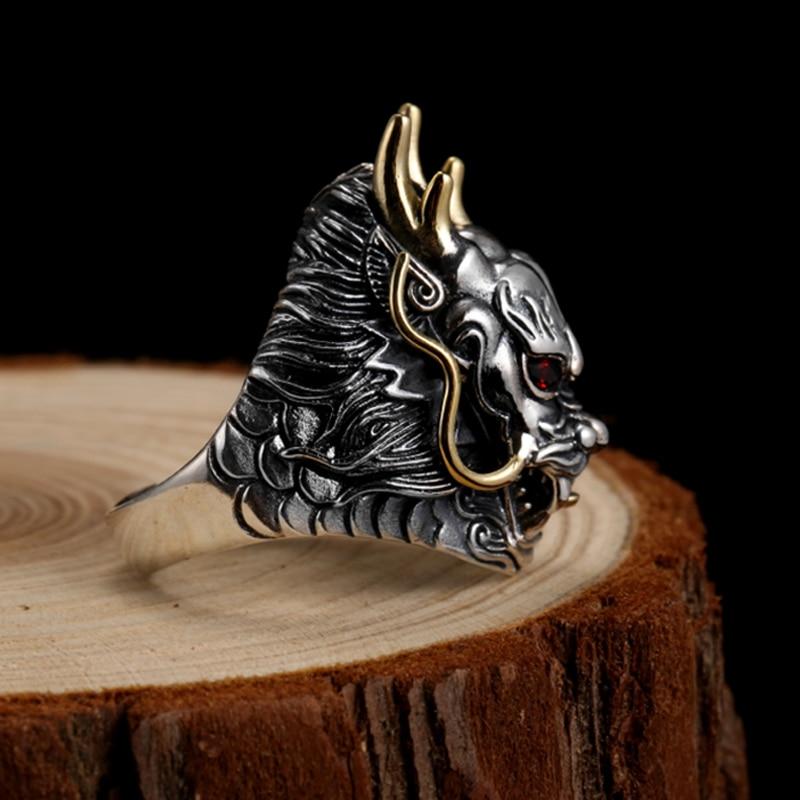 Image 4 - ZABRA Luxury 925 Sterling Silver Dragon Ring  Big Adjustable Size  Red Stone Cubic zirconia Punk Mens Rings Gothic Biker Jewelrybiker  jewelryring bigring gothic