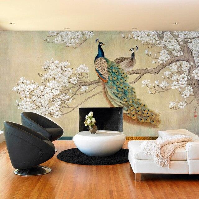 Moderne Tapete Für Wohnzimmer Retro Pfau Blütenknospen Malerei Tapeten  Schlafzimmer Hintergrund Wandbild Sofa Malerei Wohnkultur