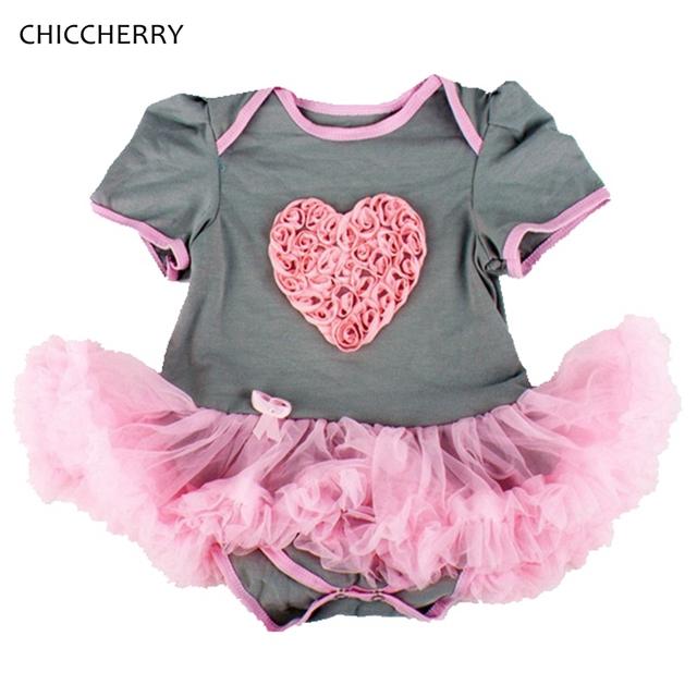 Bebé del Corazón del AMOR de San Valentín Girls Outfits Infantil Lace Romper Tutu Niños Vestidos Roupa infantil Del Bebé Recién Nacido Ropa de Boda