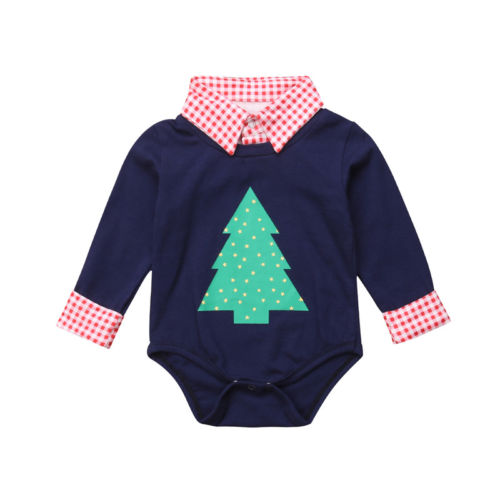 Baby Boy Long Sleeve Shirt Christmas Tree Bodysuits Baby Gentleman Suit Newborn Toddler Christmas Bodysuit Baby Boy 0-18M handsome boy and summer gentleman shirt strap 2 suit factory direct