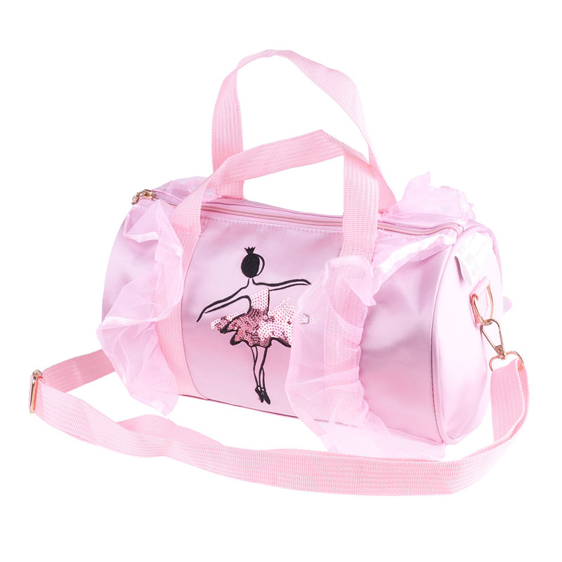 Fashion Kids Girls Ballerina Dance Ballet Bag Shoulder Duffel Bag with Zipper Lightweight Cute Girls Adorable Ballet Dance Bags