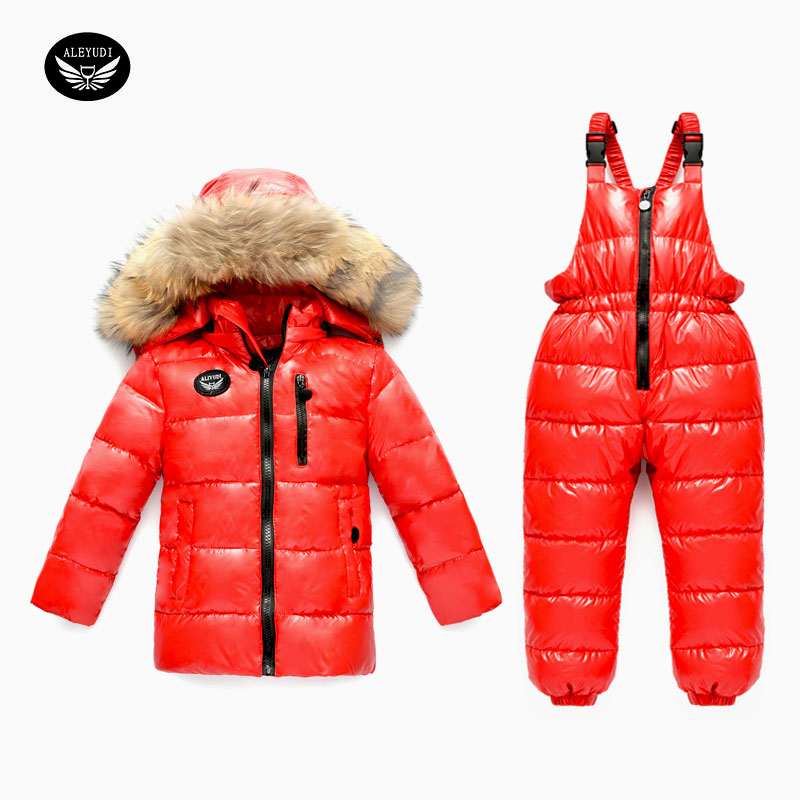 Children's Clothing Winter Girl Suit Ski Jacket -30 Degree Russian Boys Ski Sports Down Jacket Pants Winter Suit Thicker