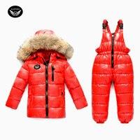 Terno de Esqui do inverno da menina das crianças Desgaste-30 graus Russo Meninos Esportes Para Baixo Conjunto Jaqueta de Esqui Terno Inverno Mais Grosso