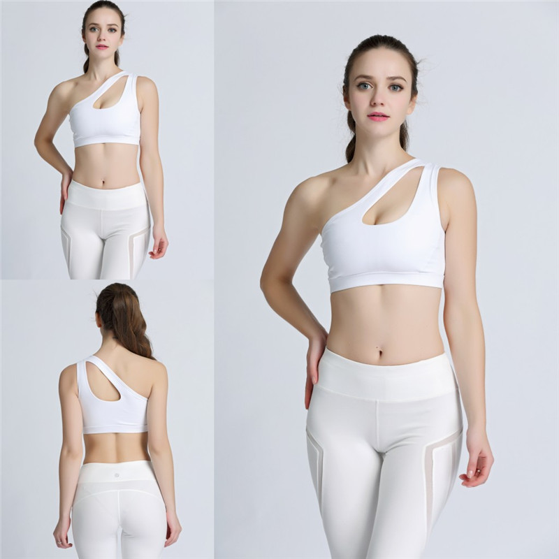 5fd5f77a872b3 2017 Sexy One Shoulder Solid Sports Bra Women Fitness Yoga Bras Gym Padded  Sport Top Athletic Underwear Workout Running Clothing-in Sports Bras from  Sports ...