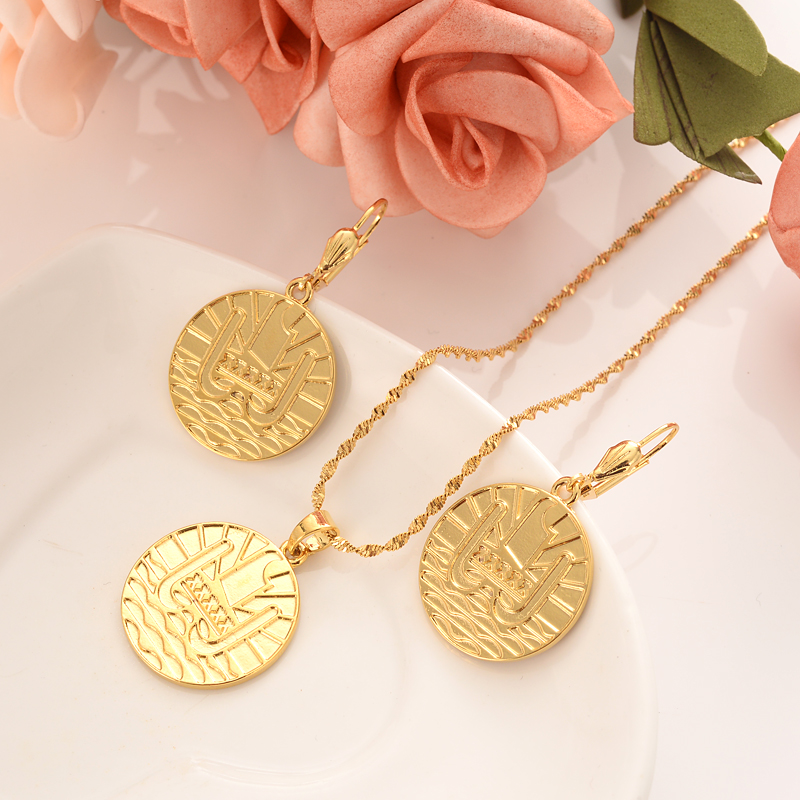 Kiribati pièce de monnaie couleur or médaille pièces de collection ensembles de bijoux pour femmes filles boucles d'oreilles pendentif souvenir cadeaux de fête