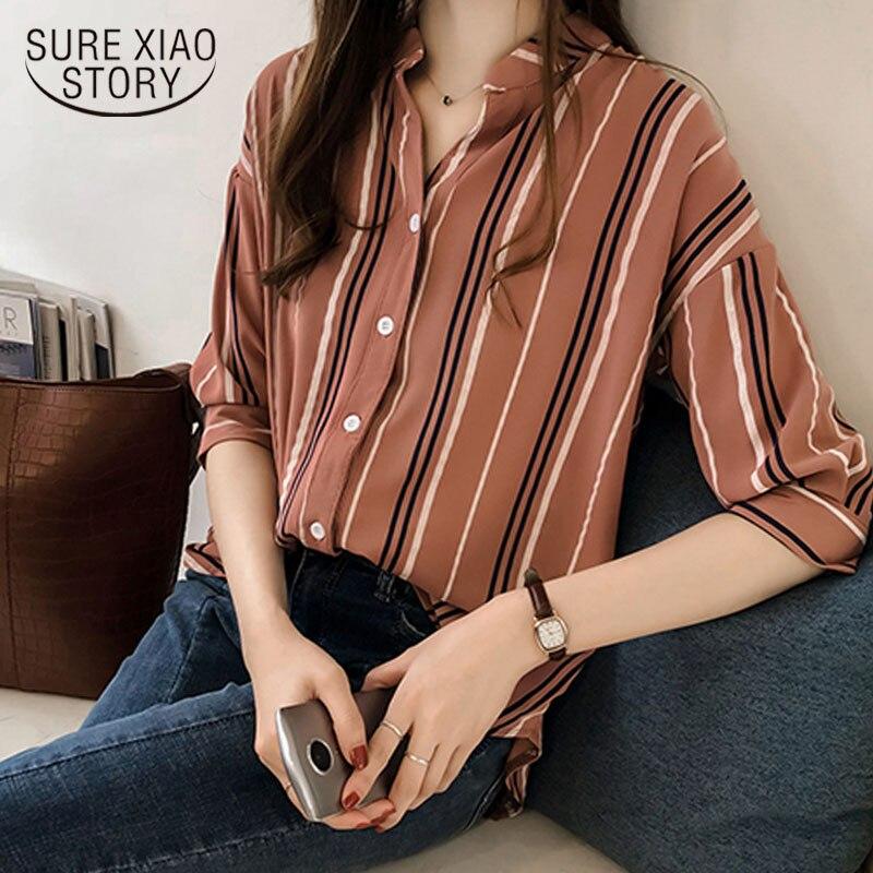 Plus Size V Collar Striped OL Blouse Fashion Woman Blouses 2018 Summer Top Shirt Women Blouse Shirt Blusa Feminina Shirt 1178 40