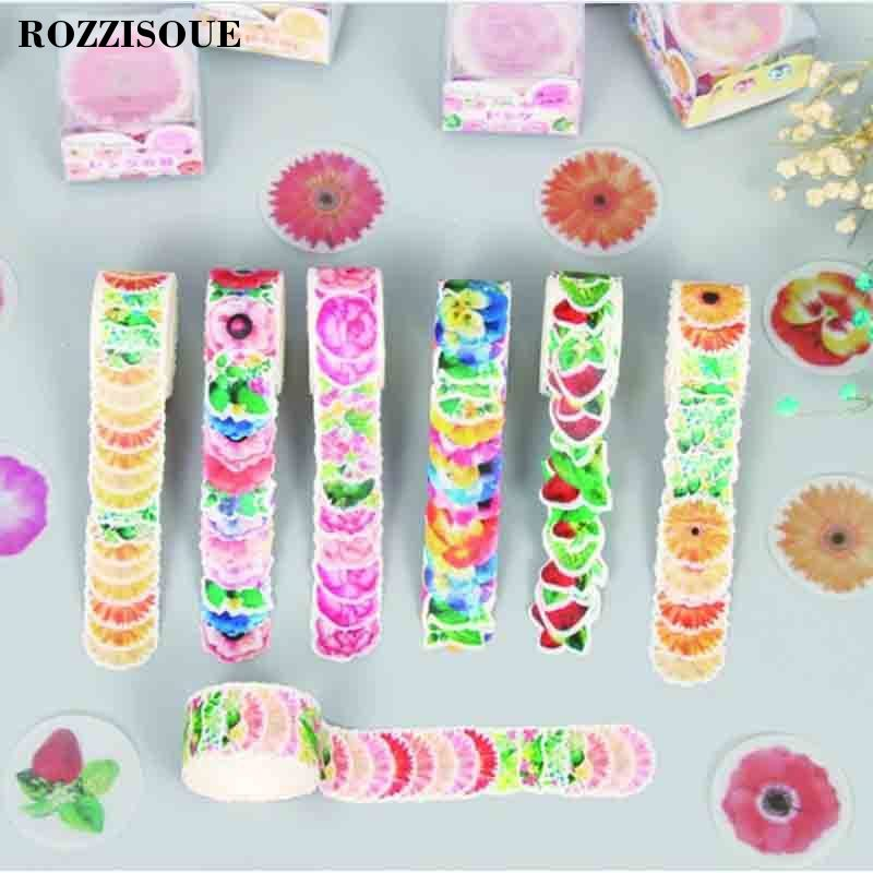 Hot 80pcs/One Roll Japanese Flower Washi Tape Paper Diy Planner Masking Tape Adhesive Tapes Stickers Decorative Stationery Tapes