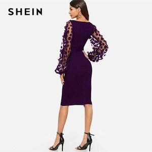 Image 2 - שיין סגול המפלגה מוצקה פרח Applique רשת שרוול טופס הולם סקיני עיפרון שמלת סתיו משרד ליידי נשים שמלות