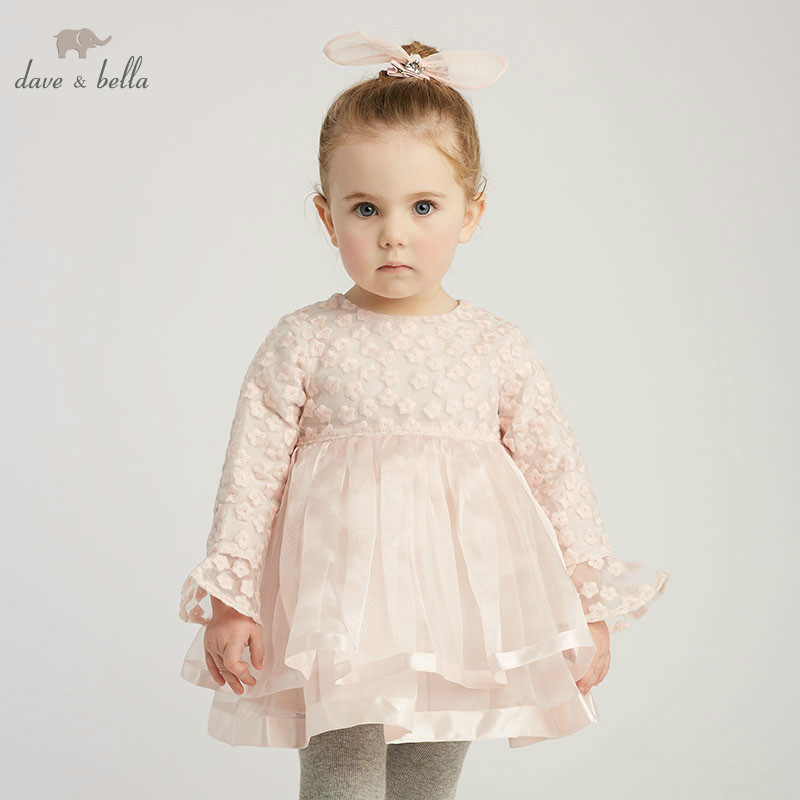 DB10200 dave bella summer baby girl s princess cute bow dress children party dress kids infant