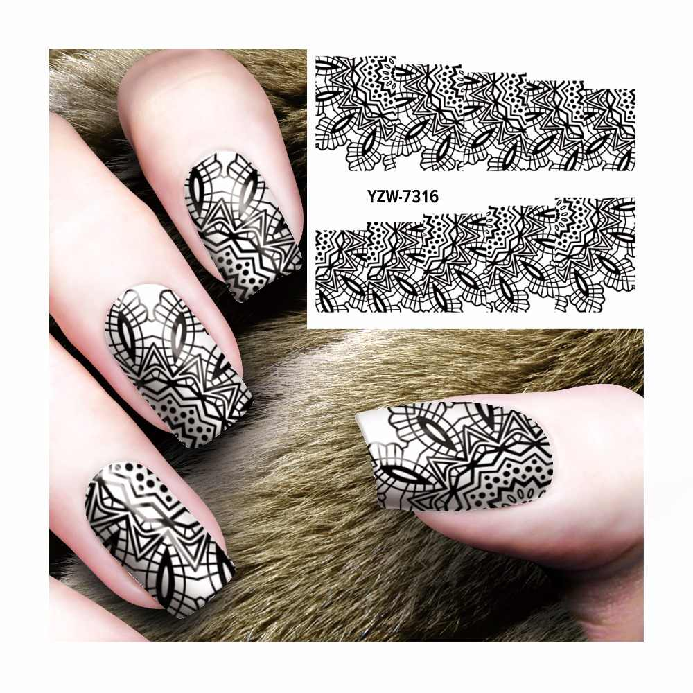 Yzwle 1 лист черный полый дизайн наклейки своими руками ногти искусство переводные наклейки с принтами для Ногтевой Салон 7316