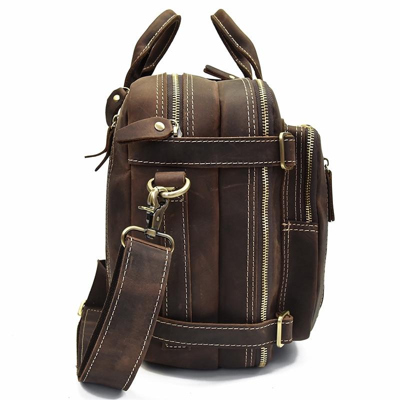 Mochila De cuero de alta calidad, mochila de cuero de vaca con cremallera doble, maletín de viaje para oficina, bolsos de hombro de doble uso, de cuero puro - 3