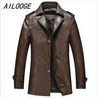 AILOOGE Autumn Winter Leather Clothing Genuine leather Fashion Man Medium style Slim wind coat Casual jacket Men Tops lederen