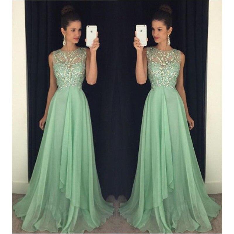 Long Chiffon Homecoming Dresses Beaded