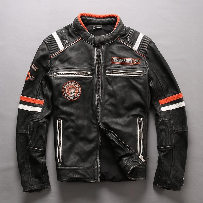 ハーレーダムソンヴィンテージ黒人男性スリムフィットオートバイの革のジャケットプラスサイズ 3XL 本物の厚い牛革バイカーの革コート  グループ上の メンズ服 からの 本革コート の中 2