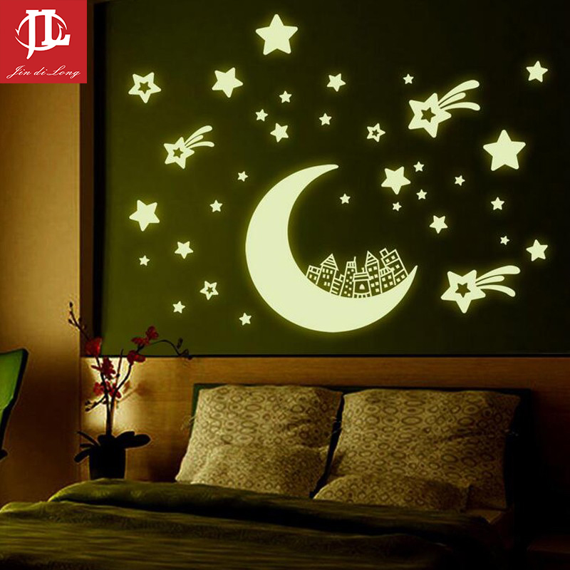 *35cm*40cm Moon Stars Wall Stickers,DIY Night Light Glow in The Dark Kids Children Bedroom Home Decor Decals Wallsticker room