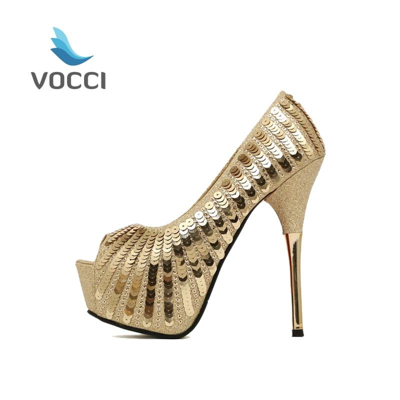 2016 Women Peep toe Sandals Summer Gold High Heels Sequined Glitter Sapato Salto Noivas Femininos Platform Pumps Shoes