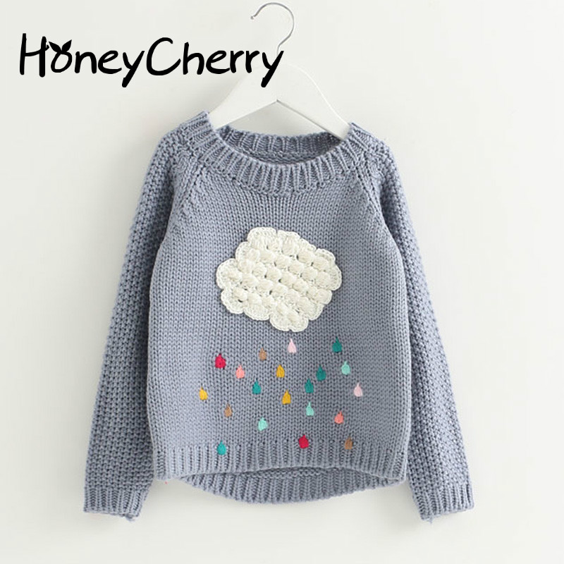 new winter baby girls sweater cartoon cloud kids clothes children sweater warm for girls knitwear rain Sweater