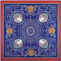 2016 новый H большой ветер женщины шарф 130 см * 130 см геометрическая цветок лабиринт высокого качества шелка саржевого шарф, шаль Ms.
