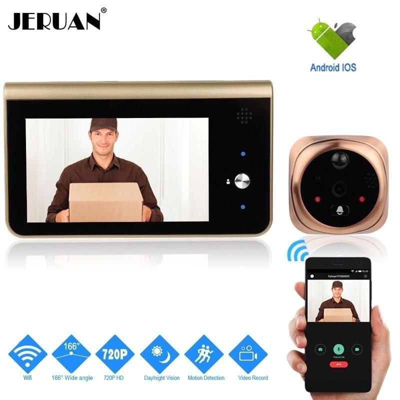 JERUAN Wifi inteligente mirilla Video timbre teléfono móvil intercomunicador inalámbrico P 720 p HD seguridad 166 grados cámara de detección de movimiento