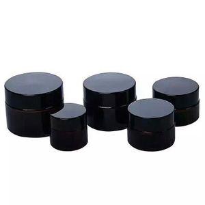 Image 5 - 5g 10g 15g 20g 30g 50g bursztynowy szklany krem do twarzy słoik kosmetyczny próbka pojemnik do pakowania wielokrotnego napełniania garnek z czarna pokrywa do podróży