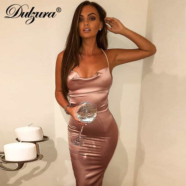 Dulzura neon satin lace up 2019 summer women bodycon long midi dress sleeveless backless elegant party outfits sexy club clothes 3