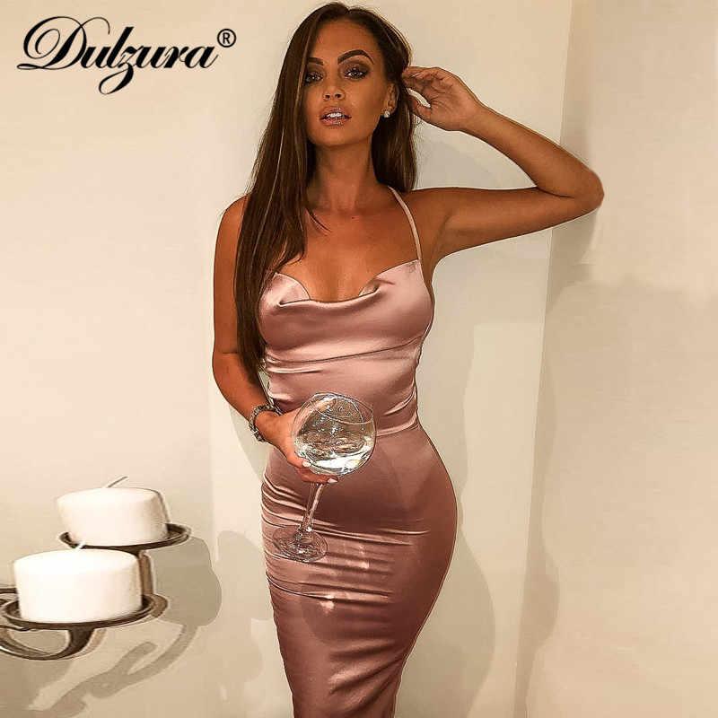 Dulzura Neon Satin Renda 2019 Musim Panas Wanita Bodycon Panjang Midi Gaun Tanpa Lengan Backless Elegan Pakaian Pesta Seksi Klub Pakaian