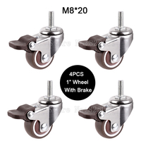 4PCS Mini 1 Mute Wheel With Brake Loading 20kg Replacement Swivel Casters Rollers Wheels With M8