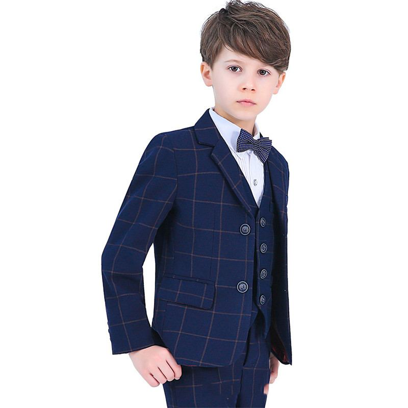 2019 bébé garçon Plaid costumes vêtements formels garçons 4/5 pièces ensembles Blazer + pantalon + chemise + arc + gilet enfants garçons costume pour Piano fête de mariage Y66