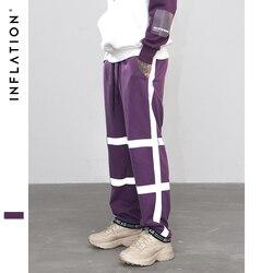 Свободные спортивные штаны в полоску с эластичной резинкой на талии, спортивные штаны размера плюс, модная уличная одежда 8889W