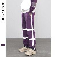 INFLATION Loose Drawstring Casual Track Pants Striped Reflctive Elastic Waist Sweatpants Plus Size Fashion Street Wear 8889W