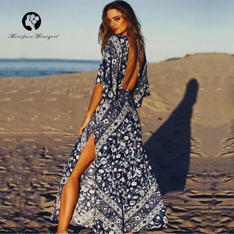 Bohemian Style Dress Women Deep V Neck Backless Batwing Sleeve Beach Dress Female Floral Print Long Boho Dresses