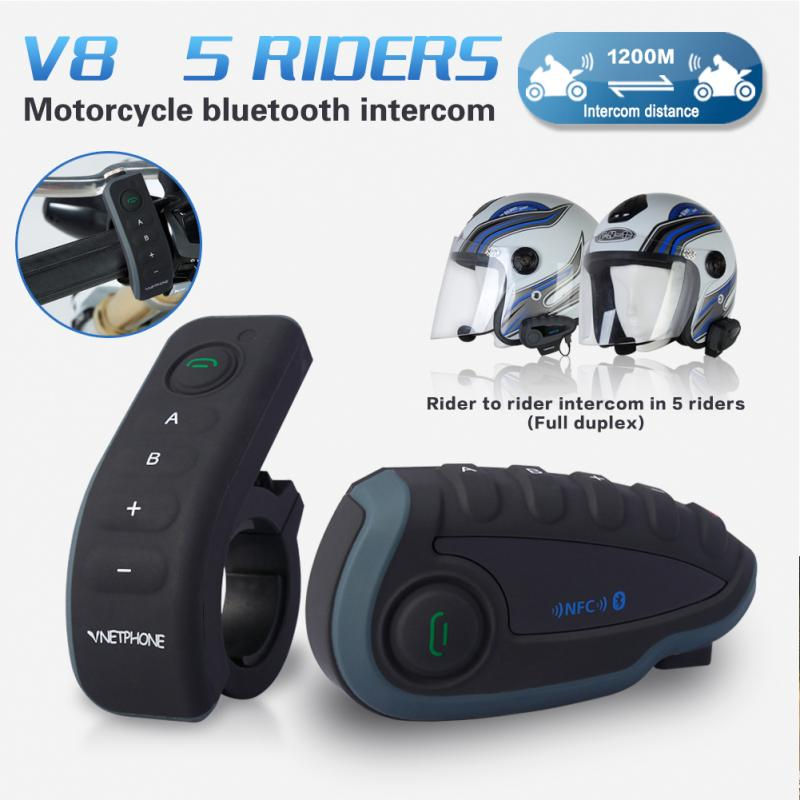 1200M 5 Riders V8 BT Motorcycle Intercom Bluetooth Helmet Headset Remote NFC GPS MP3 e 3lue ebt922 nfc bluetooth headset black