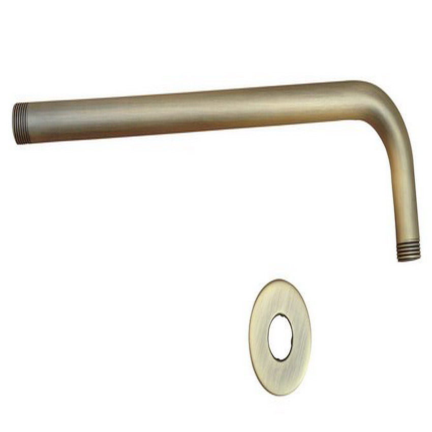 antique brass shower head extension pipe 12 long wall cover shower arm bathroom accessory. Black Bedroom Furniture Sets. Home Design Ideas