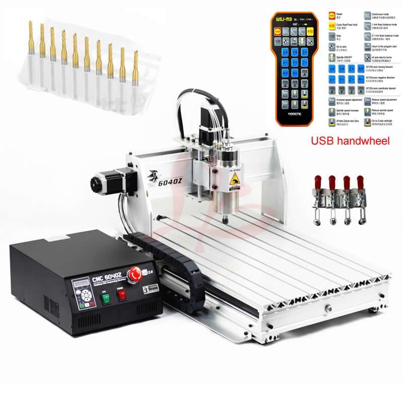 USB Port CNC Routeur 6040 2.2KW de refroidissement broche gravure sur bois en aluminium fraisage machine mach3 volant