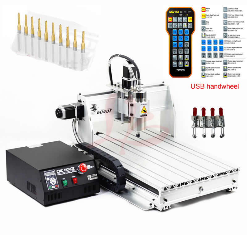 USB Port CNC Router 6040 2.2KW cooling spindle wood engraving aluminum milling machine mach3 handwheel