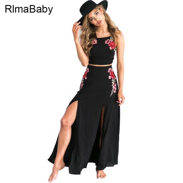 f0607b76fcc75c Bobo borduurwerk bloemen 2 stuks band maxi dress sexy zomer lace up split  bodycon vrouwen vestidos