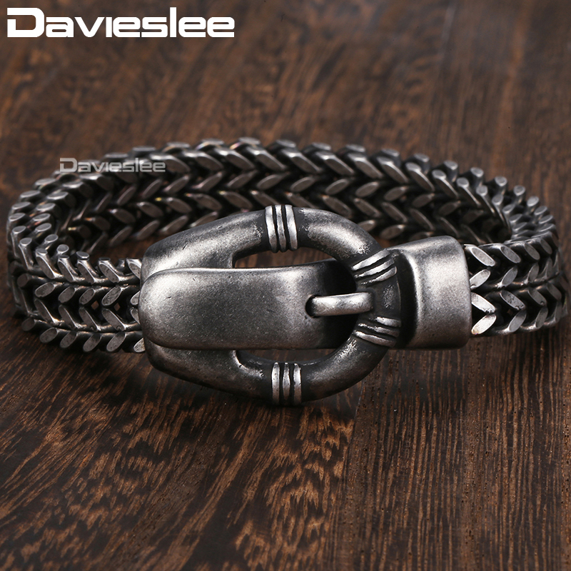Davieslee Fashion Mens Bracelet Stainless Steel Double Foxtail Link Belt Shaped Clasp Wristband 12mm DHB497 davieslee fashion mens man made leather bracelet stainless steel box link knot charm wristband 13mm dhb496