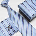 Masculino lazo formal matrimonio comercial gemelos bolsillo toalla caja de regalo conjunto de cuello blanco 1201-12
