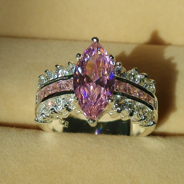Victoria Wieck Marquise Cut Pink Sapphire Simulated Diamond 925 Silver engagement Wedding Band Ring Sz 5-10 Gift free shipping