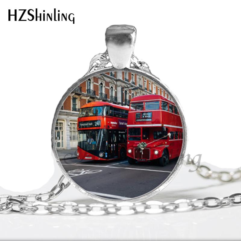 NS-00730 New Fashion London Bus Necklace I love double decker buses Necklace Fashion Glass Cabochon Car Necklace HZ1