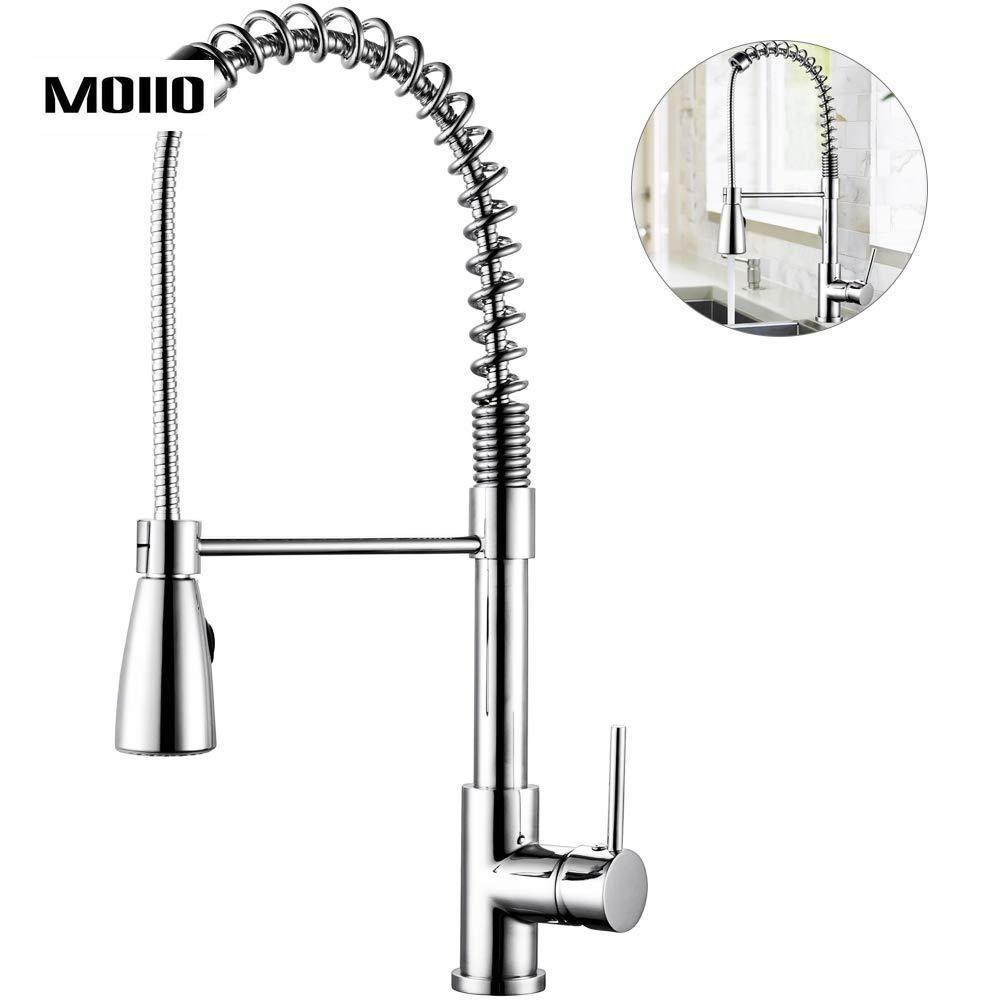MOIIO Solid Brass Kitchen Faucet Single Handle Sprayer Lead Free Pull Down Swivel Spout Kitchen Sink Faucets Home Improvement