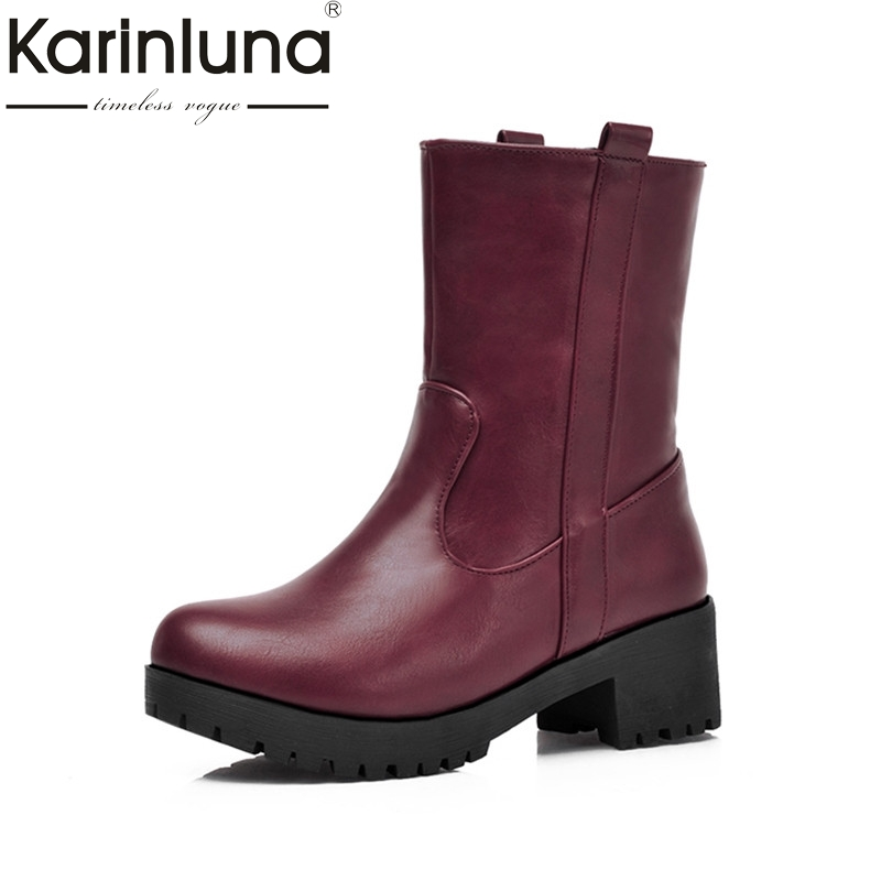 KARINLUNA Large Size 34-43 Vintage Snow Boots Square Med Heels Winter Shoes Women Add Fur Fashion Slip On Riding Boots Woman size 34 42 2016 new high quality fall winter boots thick med heels platform shoes woman fashion add fur knee women boots