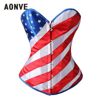 AONVE USA Flag Top Corset Burlesque Costumes Lace Up Strapped Bustier Sexy Clothing Half Cup Corset Bustier femme Korse Bayan