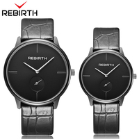 REBIRTH 1 Pair Couple Gift Wristwatches Leather Quartz Men Women Lover Watches Simple Analog Watch Reloj Mujer Relogio Feminino