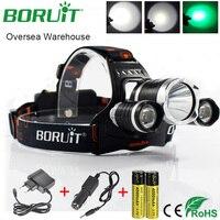 BORUiT RJ-3000 Vert T6 LED Projecteur lampe de Poche Rechargeable Phare Camping Chasse Lanterne Tête Lampe Torche par 18650 Batterie