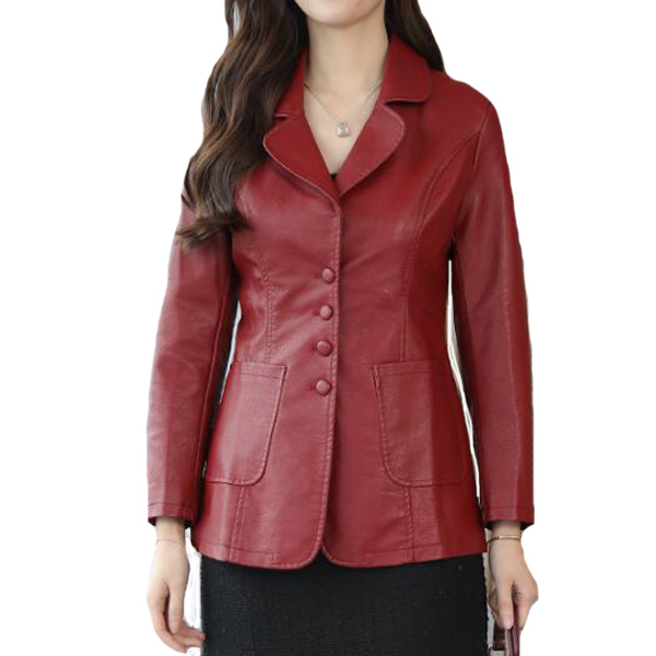 Black Burgundy Long Pu Leather Jacket 2018 New Women Long Sleeve