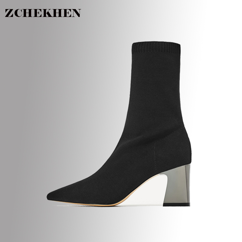 Fashion Ankle Elastic Sock Boots Chunky High Heels Stretch Women Sexy Booties Pointed Toe Women Pumps Botas 100390
