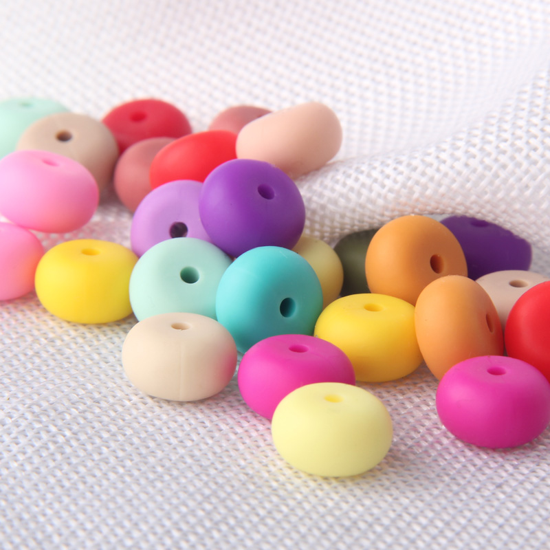 200pcs Abacus Silicone Teething Beads Necklace Infant Teethers BPA FREE Saucer Loose Beads For DIY Jewelry Making Pacifier Clips