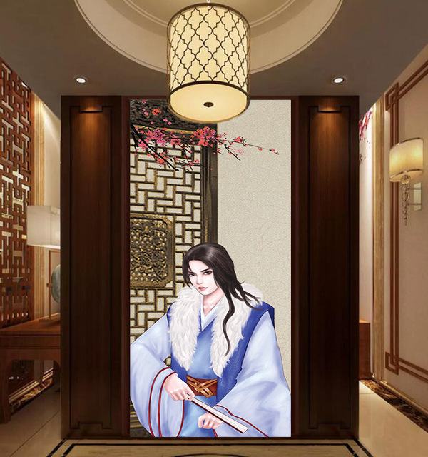 2pcs Set Traditional Chinese Style Classic Door Sticker Wall Sticker